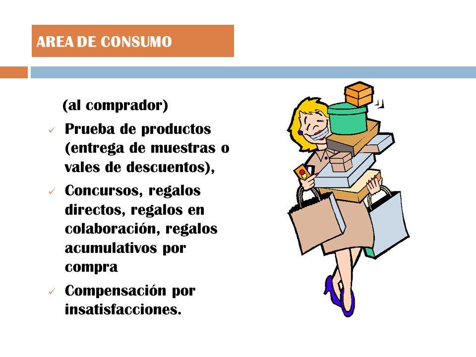 (al comprador) Prueba de productos (entrega de muestras o vales de descuentos), Concursos, regalos directos, regalos en colaboración, regalos acumulativos por compra Compensación por insatisfacciones.