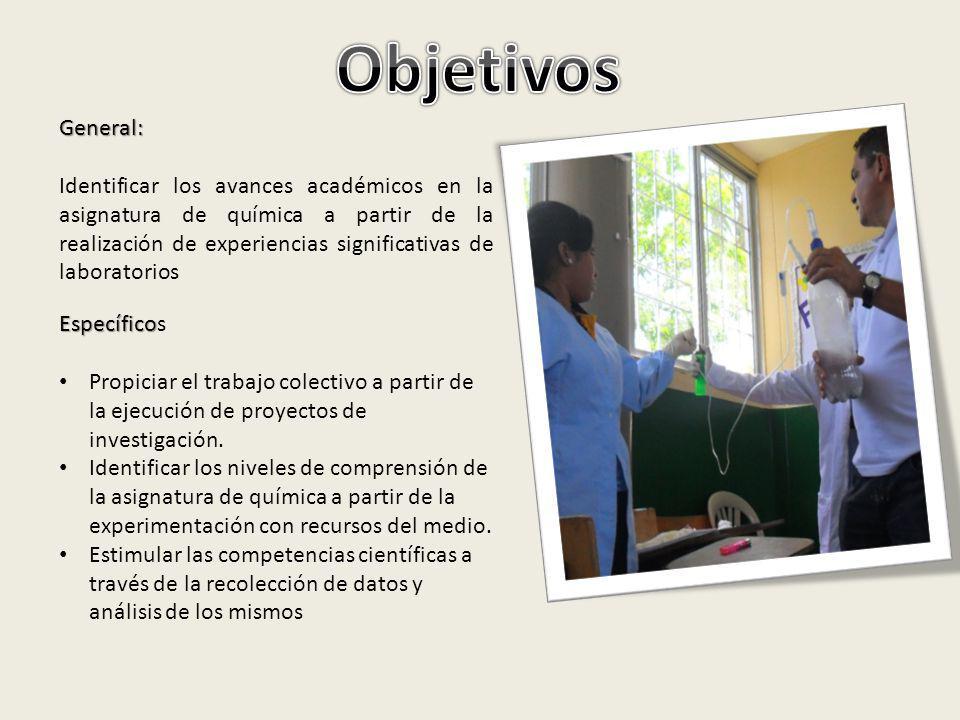 General: Identificar los avances académicos en la asignatura de química a partir de la realización de experiencias significativas de laboratorios Espe