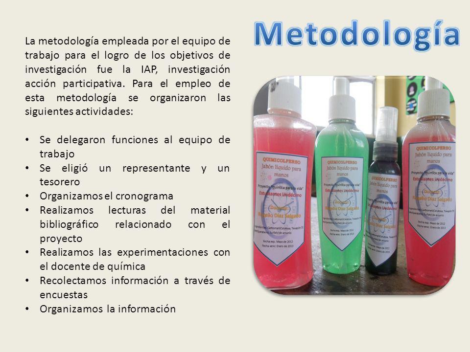 La metodología empleada por el equipo de trabajo para el logro de los objetivos de investigación fue la IAP, investigación acción participativa.