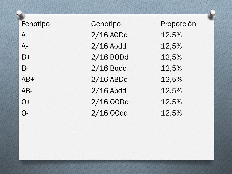 FenotipoGenotipoProporción A+2/16 AODd12,5% A-2/16 Aodd12,5% B+2/16 BODd12,5% B-2/16 Bodd12,5% AB+2/16 ABDd12,5% AB-2/16 Abdd12,5% O+2/16 OODd12,5% O-2/16 OOdd12,5%