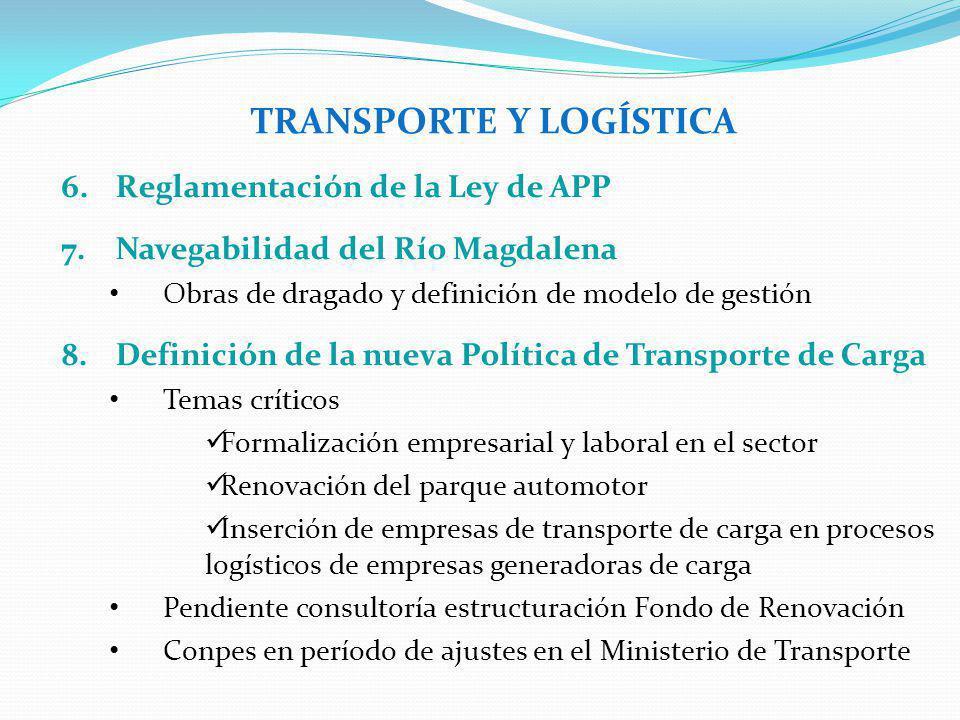 TRANSPORTE Y LOGÍSTICA 6.Reglamentación de la Ley de APP 7.Navegabilidad del Río Magdalena Obras de dragado y definición de modelo de gestión 8.Defini