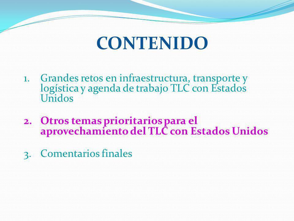 CONTENIDO 1.Grandes retos en infraestructura, transporte y logística y agenda de trabajo TLC con Estados Unidos 2.Otros temas prioritarios para el apr