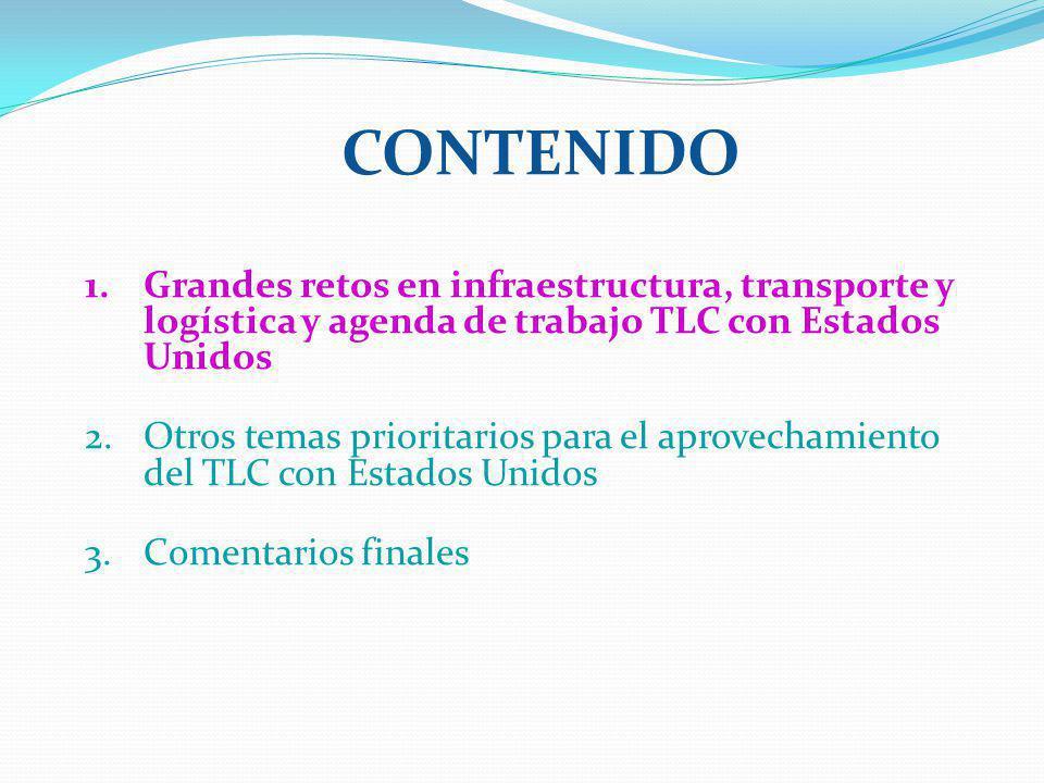 CONTENIDO 1.Grandes retos en infraestructura, transporte y logística y agenda de trabajo TLC con Estados Unidos 2.Otros temas prioritarios para el aprovechamiento del TLC con Estados Unidos 3.Comentarios finales
