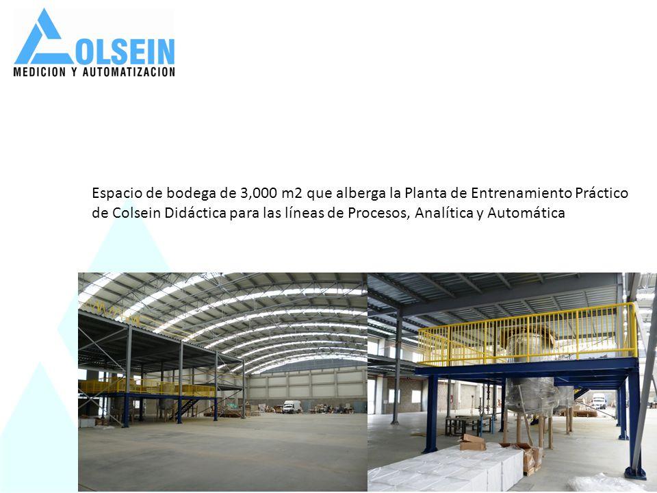 Espacio de bodega de 3,000 m2 que alberga la Planta de Entrenamiento Práctico de Colsein Didáctica para las líneas de Procesos, Analítica y Automática