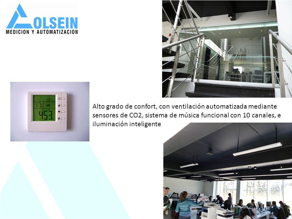 Alto grado de confort, con ventilación automatizada mediante sensores de CO2, sistema de música funcional con 10 canales, e iluminación inteligente