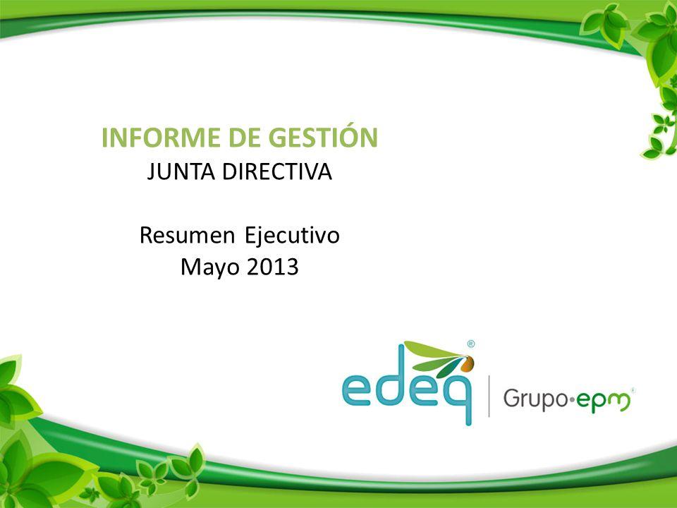 INFORME DE GESTIÓN JUNTA DIRECTIVA Resumen Ejecutivo Mayo 2013