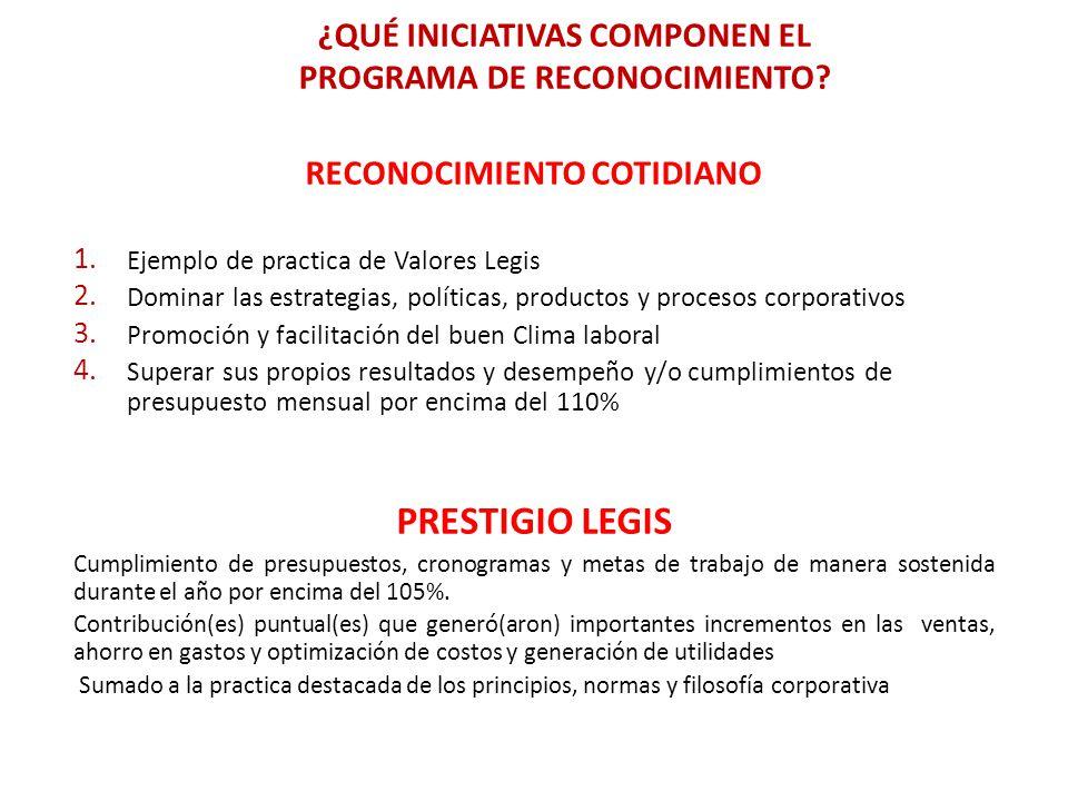 RECONOCIMIENTO COTIDIANO 1. Ejemplo de practica de Valores Legis 2. Dominar las estrategias, políticas, productos y procesos corporativos 3. Promoción