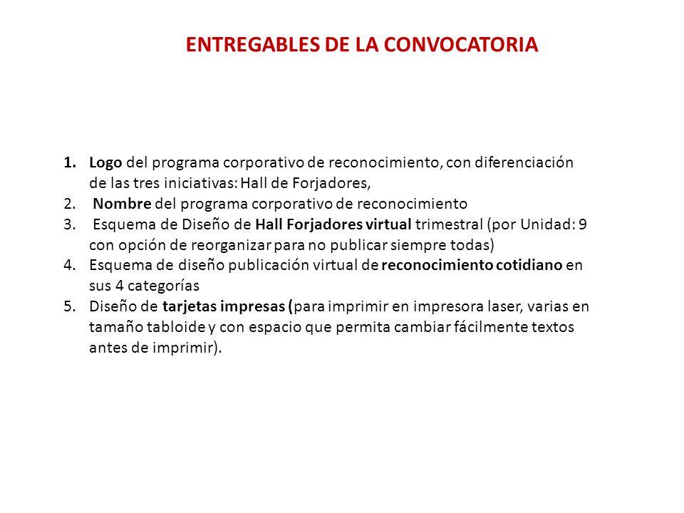 ENTREGABLES DE LA CONVOCATORIA 1.Logo del programa corporativo de reconocimiento, con diferenciación de las tres iniciativas: Hall de Forjadores, 2.