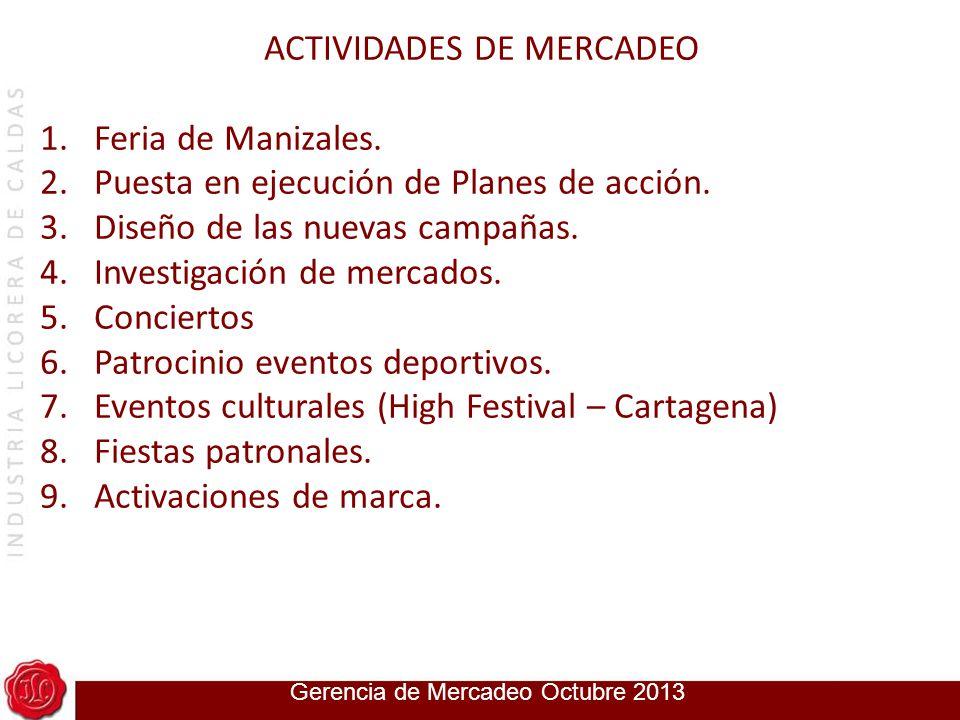 Gerencia de Mercadeo 2014 ACTIVIDADES DE MERCADEO 1.Feria de Manizales. 2.Puesta en ejecución de Planes de acción. 3.Diseño de las nuevas campañas. 4.