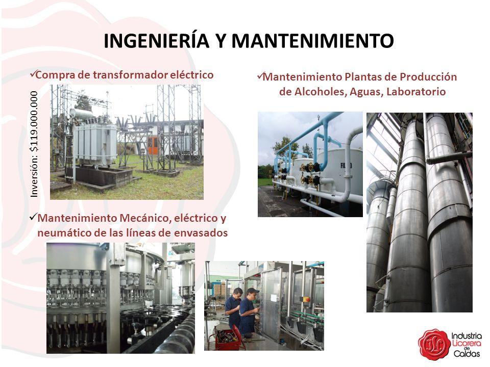 INGENIERÍA Y MANTENIMIENTO Inversión: $119.000.000 Compra de transformador eléctrico Mantenimiento Mecánico, eléctrico y neumático de las líneas de en