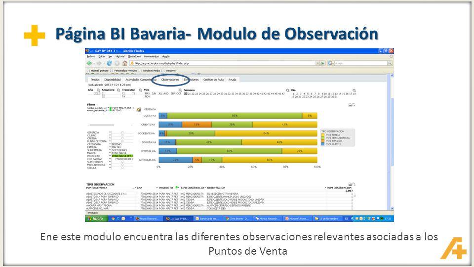 + Página BI Bavaria- Modulo de Observación Ene este modulo encuentra las diferentes observaciones relevantes asociadas a los Puntos de Venta