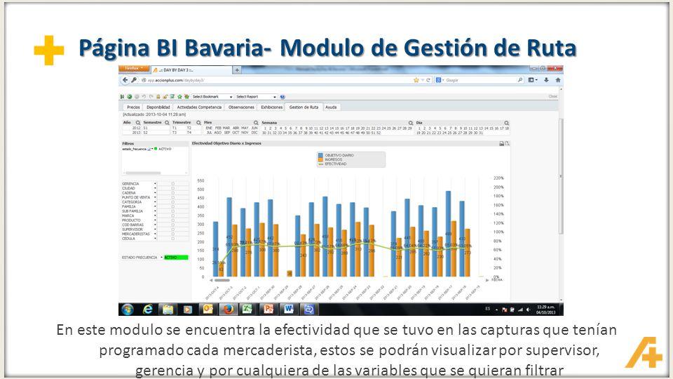 + Página BI Bavaria- Modulo de Gestión de Ruta En este modulo se encuentra la efectividad que se tuvo en las capturas que tenían programado cada merca