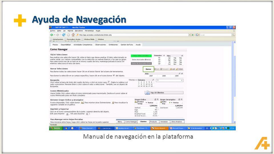 + Ayuda de Navegación Manual de navegación en la plataforma