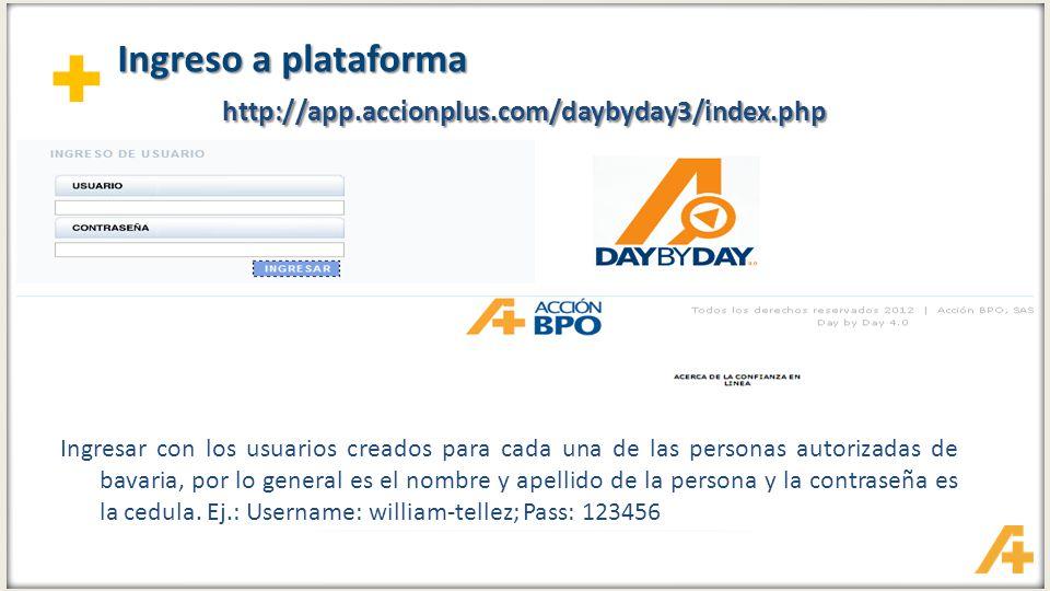 + Ingreso a plataforma http://app.accionplus.com/daybyday3/index.php Ingresar con los usuarios creados para cada una de las personas autorizadas de ba
