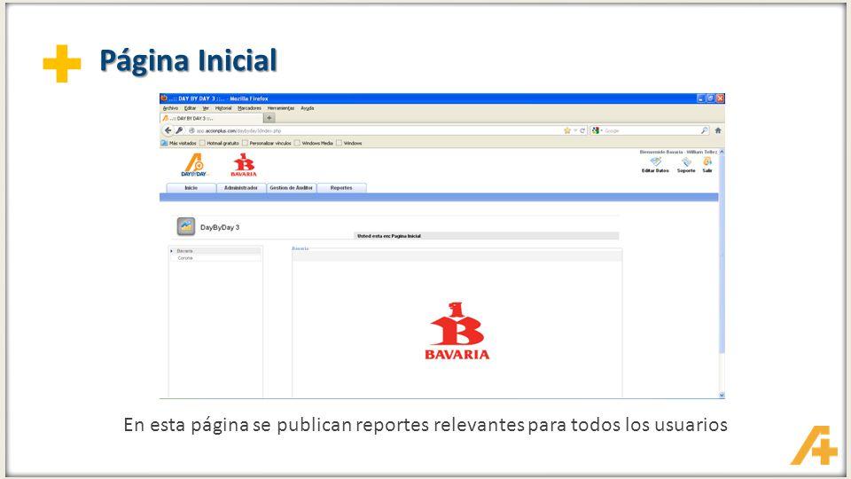 + Página Inicial En esta página se publican reportes relevantes para todos los usuarios