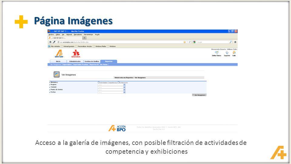 + Página Imágenes Acceso a la galería de imágenes, con posible filtración de actividades de competencia y exhibiciones