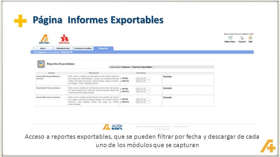 + Página Reportes BI Acceso a la información: Reportes BI Usuario genérico para ingreso Usuario: accionplus.com\accbpo-bavaria Contraseña: bavaria3