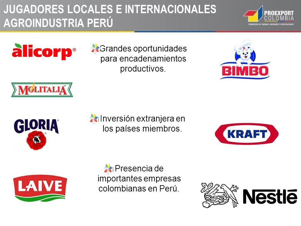JUGADORES LOCALES E INTERNACIONALES AGROINDUSTRIA PERÚ Grandes oportunidades para encadenamientos productivos. Inversión extranjera en los países miem