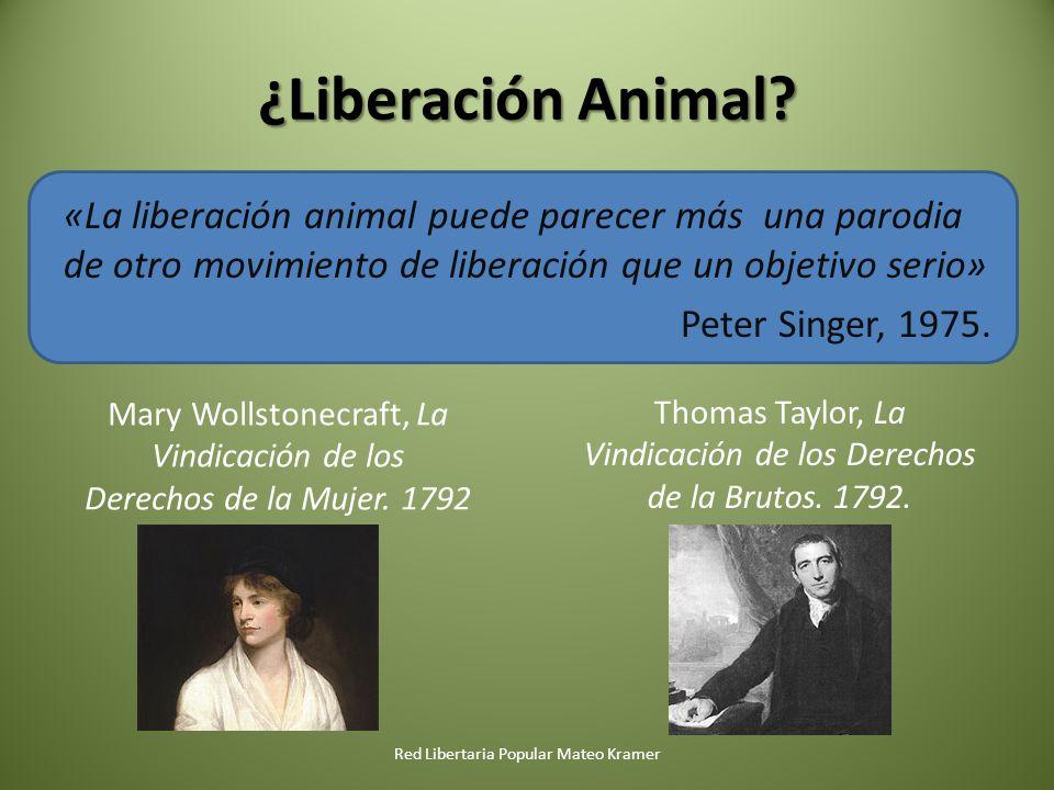 ¿Liberación Animal? «La liberación animal puede parecer más una parodia de otro movimiento de liberación que un objetivo serio» Peter Singer, 1975. Re