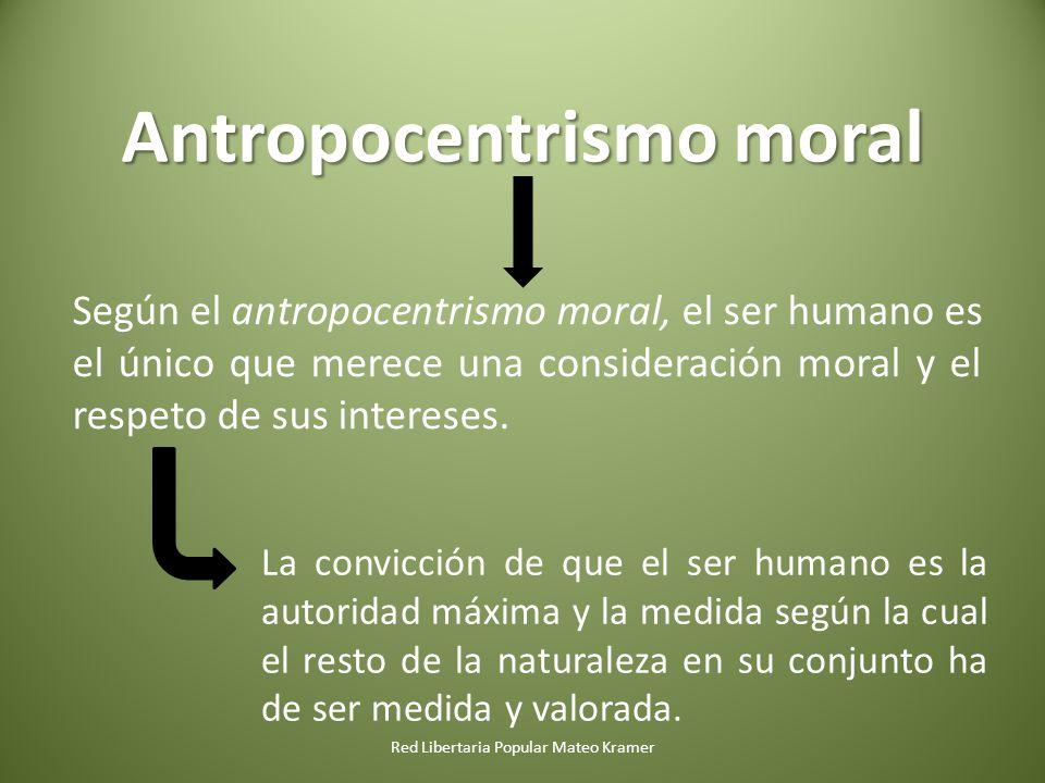 Red Libertaria Popular Mateo Kramer Antropocentrismo moral Según el antropocentrismo moral, el ser humano es el único que merece una consideración moral y el respeto de sus intereses.