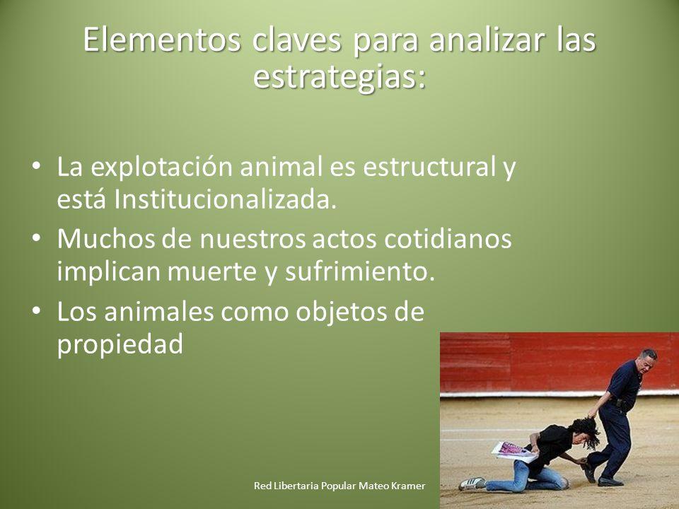 Red Libertaria Popular Mateo Kramer Elementos claves para analizar las estrategias: La explotación animal es estructural y está Institucionalizada.