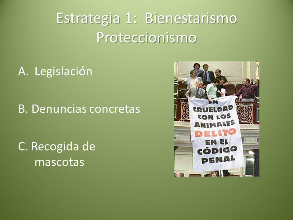 Estrategia 1: Bienestarismo Proteccionismo A.Legislación B. Denuncias concretas C. Recogida de mascotas