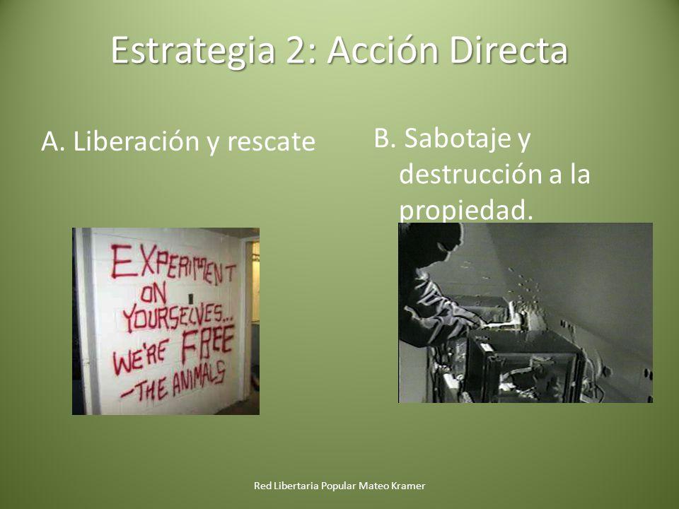 Red Libertaria Popular Mateo Kramer Estrategia 2: Acción Directa A. Liberación y rescate B. Sabotaje y destrucción a la propiedad.