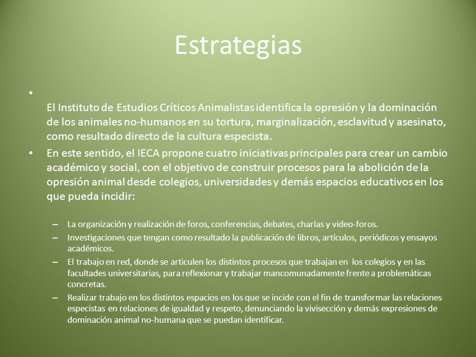 Estrategias El Instituto de Estudios Críticos Animalistas identifica la opresión y la dominación de los animales no-humanos en su tortura, marginalización, esclavitud y asesinato, como resultado directo de la cultura especista.