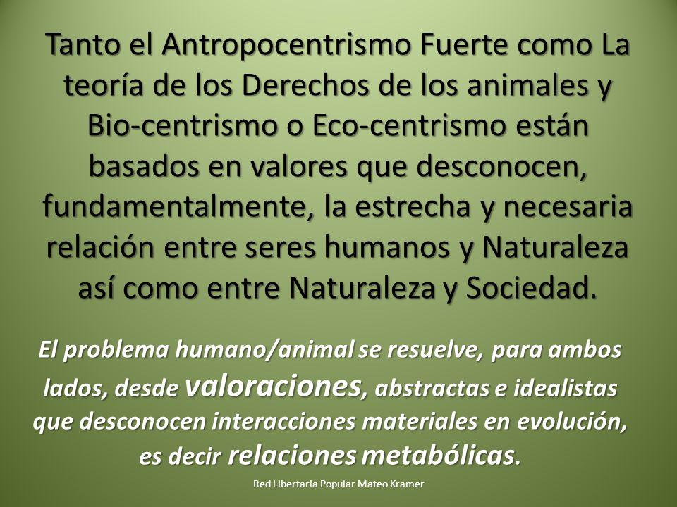 Tanto el Antropocentrismo Fuerte como La teoría de los Derechos de los animales y Bio-centrismo o Eco-centrismo están basados en valores que desconocen, fundamentalmente, la estrecha y necesaria relación entre seres humanos y Naturaleza así como entre Naturaleza y Sociedad.