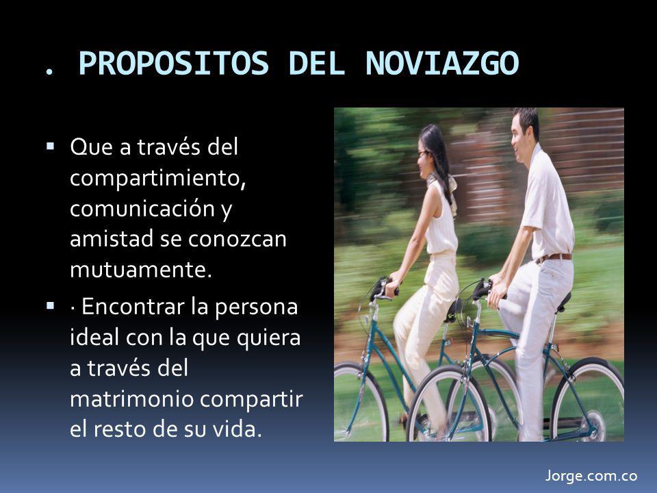 . PROPOSITOS DEL NOVIAZGO Que a través del compartimiento, comunicación y amistad se conozcan mutuamente. · Encontrar la persona ideal con la que quie