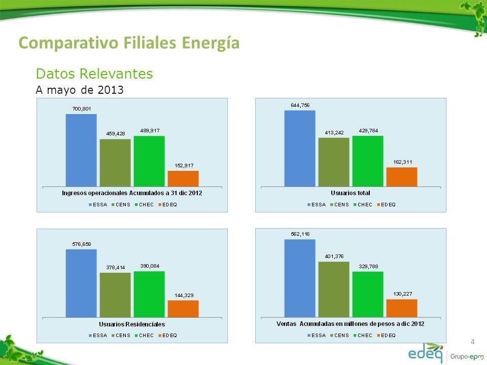 Comparativo Filiales Energía 5 Datos Relevantes A mayo de 2013