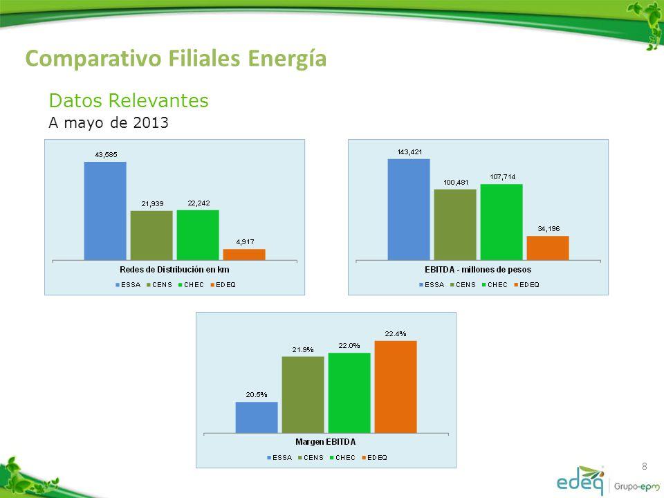 Comparativo Filiales Energía 9 Indicadores relevantes A mayo de 2013 IndicadorESSACENSCHECEDEQ Consumo medio (kWh/usuario) 215.1 239.1 163.3 180.0 Densidad de Clientes / km2 21.1 19.1 41.3 82.7 Cobertura km red / km2 1.4 1.0 2.1 2.5 Km red / usuario 0.07 0.05 0.03 Clientes / Trabajador 721.2 815.1 487.8 452.1 Ingresos / Trabajadores (Mill.$/trabajador) 783.9 906.2 556.1 426.0 Capacidad instalada kVA / Cliente 3.0 2.0 1.7 2.7 Población Media Hogar - per/hogar 3.6 5.2 3.7 3.9
