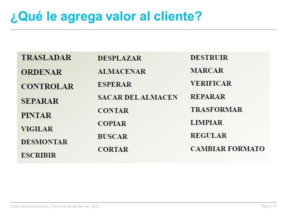 Coats Cadena Andina S.A. | Technical Adviser Service | 2013 Página 10 ¿Qué le agrega valor al cliente?