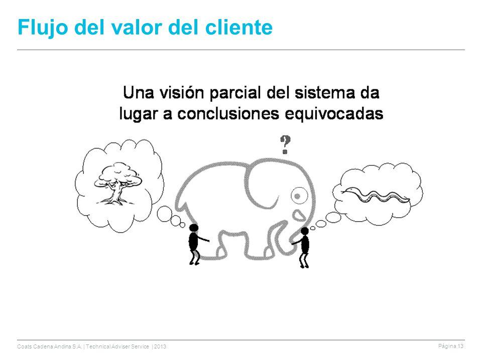 Coats Cadena Andina S.A. | Technical Adviser Service | 2013 Página 13 Flujo del valor del cliente