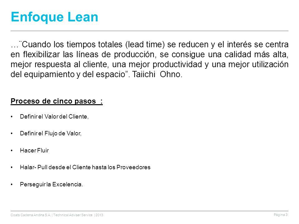 Coats Cadena Andina S.A. | Technical Adviser Service | 2013 Página 3 Enfoque Lean …¨Cuando los tiempos totales (lead time) se reducen y el interés se