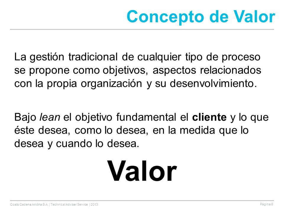 Coats Cadena Andina S.A. | Technical Adviser Service | 2013 Página 5 Concepto de Valor La gestión tradicional de cualquier tipo de proceso se propone