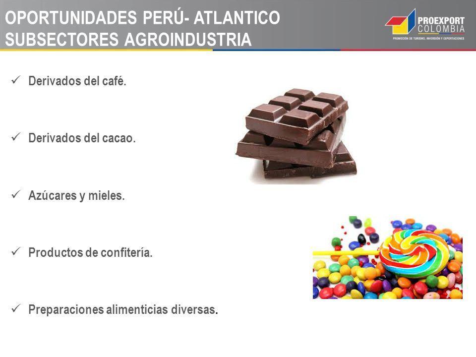 OPORTUNIDADES PERÚ- ATLANTICO SUBSECTORES AGROINDUSTRIA Derivados del café. Derivados del cacao. Azúcares y mieles. Productos de confitería. Preparaci