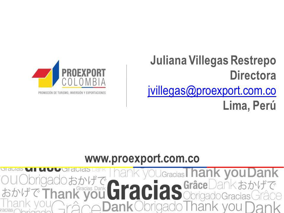 www.proexport.com.co Juliana Villegas Restrepo Directora jvillegas@proexport.com.co jvillegas@proexport.com.co Lima, Perú www.proexport.com.co