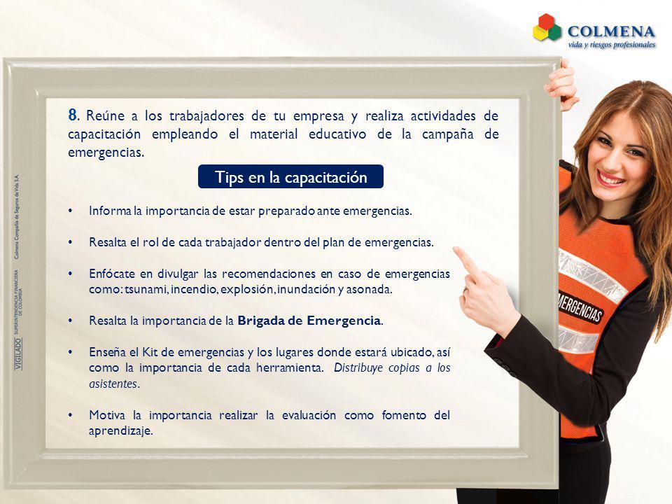 Informa la importancia de estar preparado ante emergencias. Resalta el rol de cada trabajador dentro del plan de emergencias. Enfócate en divulgar las