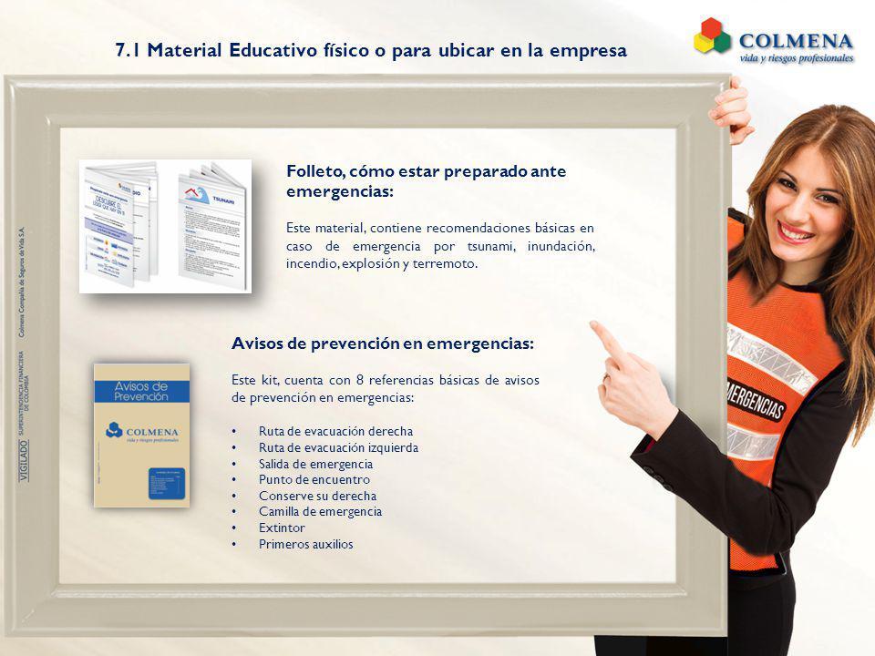 7.1 Material Educativo físico o para ubicar en la empresa Folleto, cómo estar preparado ante emergencias: Este material, contiene recomendaciones bási