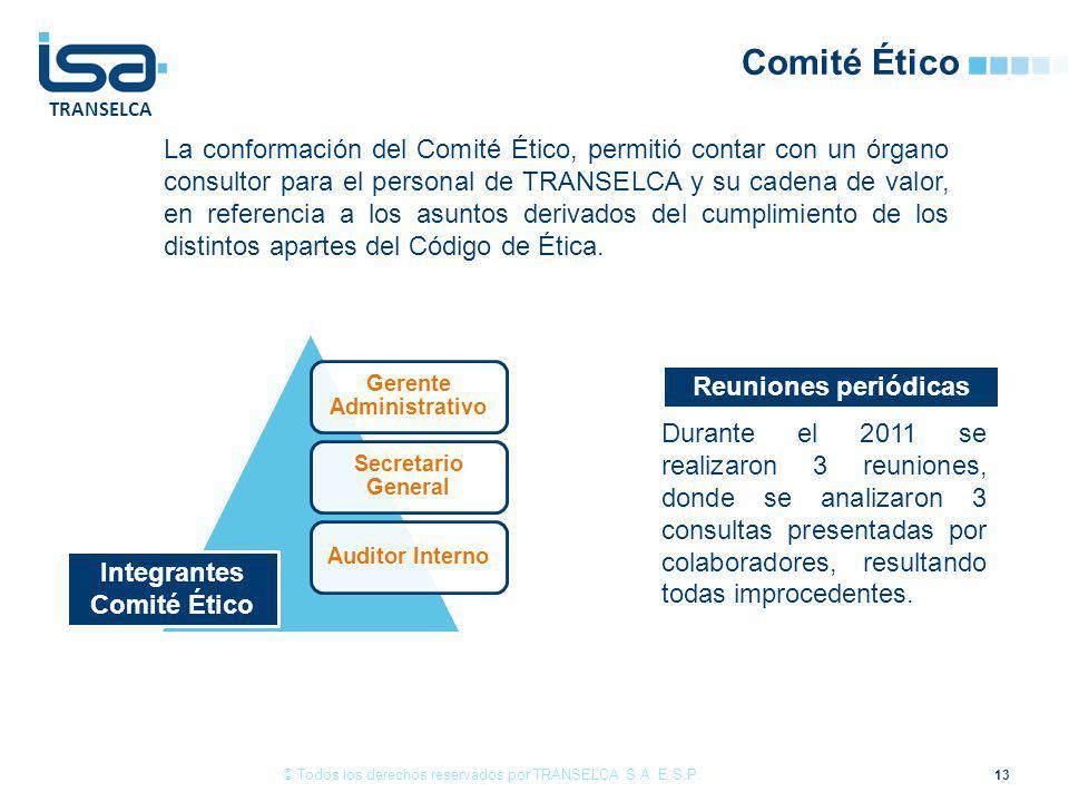 TRANSELCA Comité Ético La conformación del Comité Ético, permitió contar con un órgano consultor para el personal de TRANSELCA y su cadena de valor, en referencia a los asuntos derivados del cumplimiento de los distintos apartes del Código de Ética.