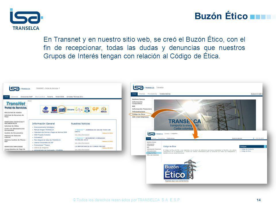 TRANSELCA Buzón Ético En Transnet y en nuestro sitio web, se creó el Buzón Ético, con el fin de recepcionar, todas las dudas y denuncias que nuestros Grupos de Interés tengan con relación al Código de Ética.