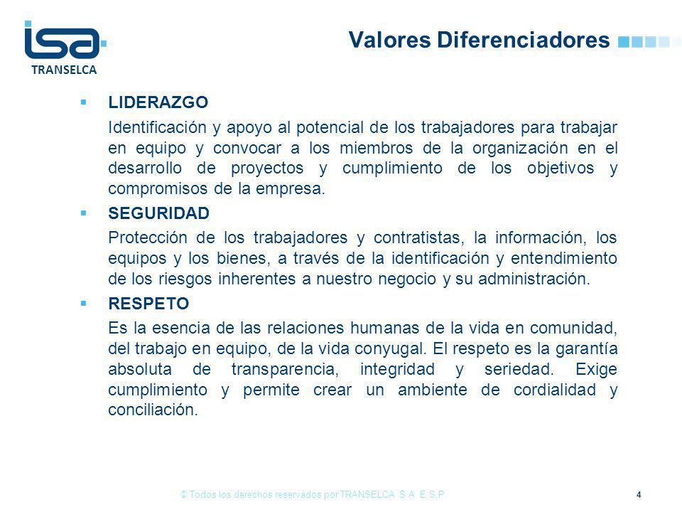 TRANSELCA Valores Diferenciadores LIDERAZGO Identificación y apoyo al potencial de los trabajadores para trabajar en equipo y convocar a los miembros de la organización en el desarrollo de proyectos y cumplimiento de los objetivos y compromisos de la empresa.