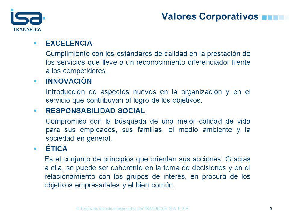 TRANSELCA Valores Corporativos EXCELENCIA Cumplimiento con los estándares de calidad en la prestación de los servicios que lleve a un reconocimiento d