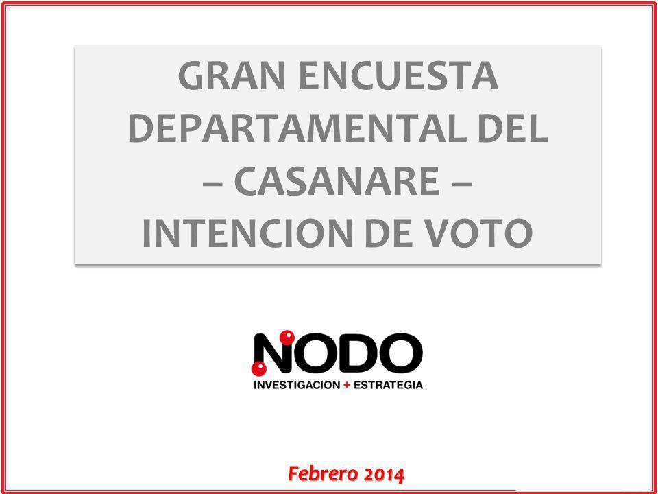 Febrero 2014 GRAN ENCUESTA DEPARTAMENTAL DEL – CASANARE – INTENCION DE VOTO GRAN ENCUESTA DEPARTAMENTAL DEL – CASANARE – INTENCION DE VOTO