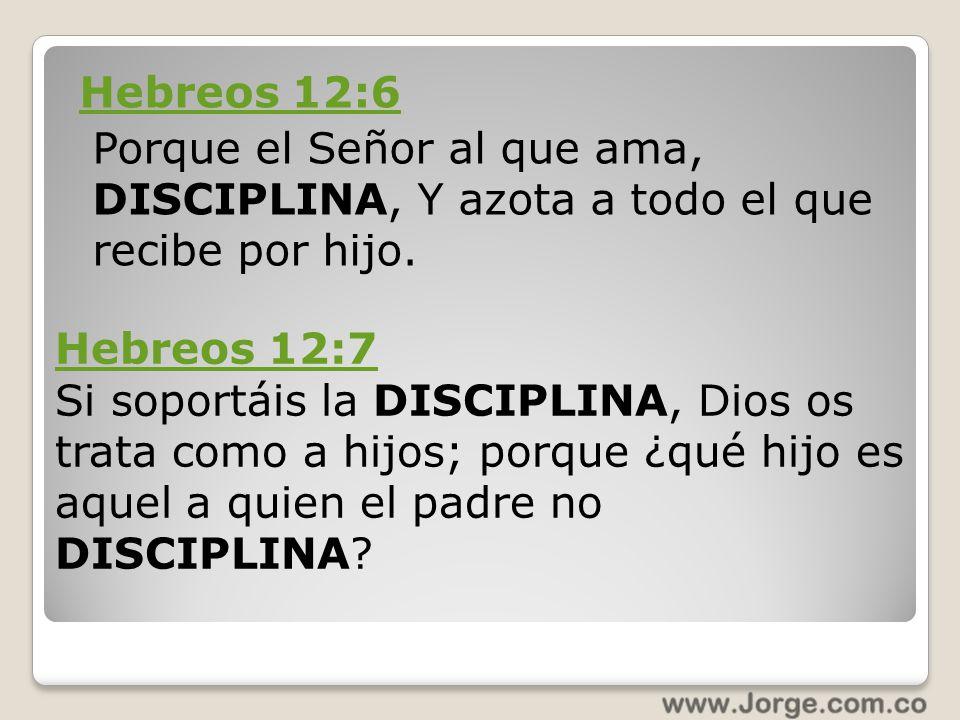 Hebreos 12:6 Porque el Señor al que ama, DISCIPLINA, Y azota a todo el que recibe por hijo. Hebreos 12:7 Si soportáis la DISCIPLINA, Dios os trata com