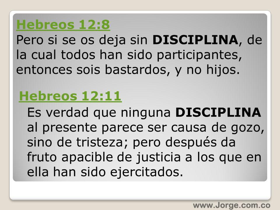 Hebreos 12:11 Es verdad que ninguna DISCIPLINA al presente parece ser causa de gozo, sino de tristeza; pero después da fruto apacible de justicia a lo