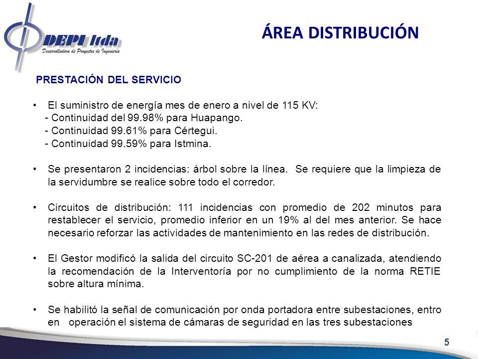 PRESTACIÓN DEL SERVICIO El suministro de energía mes de enero a nivel de 115 KV: - Continuidad del 99.98% para Huapango. - Continuidad 99.61% para Cér
