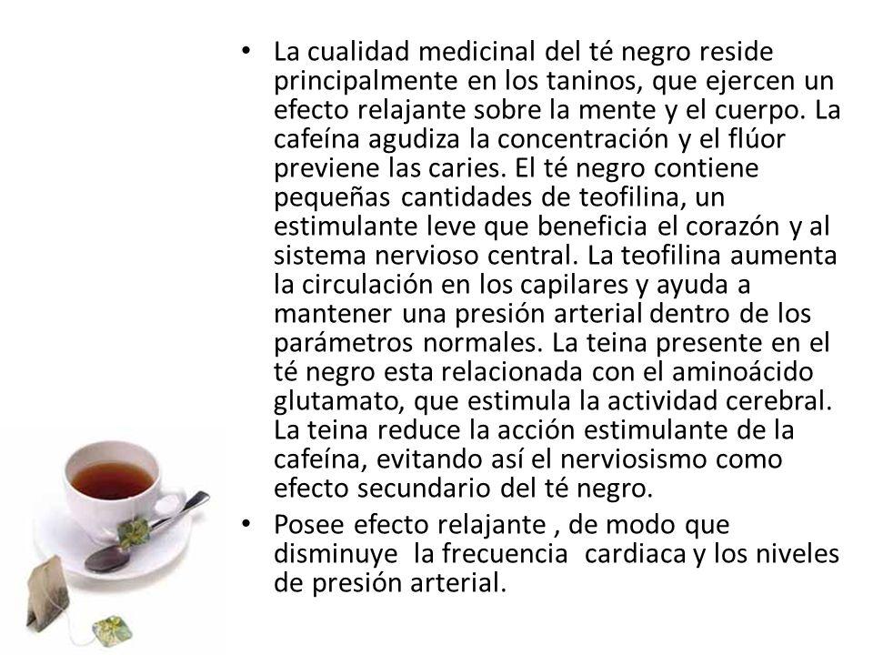 La cualidad medicinal del té negro reside principalmente en los taninos, que ejercen un efecto relajante sobre la mente y el cuerpo. La cafeína agudiz