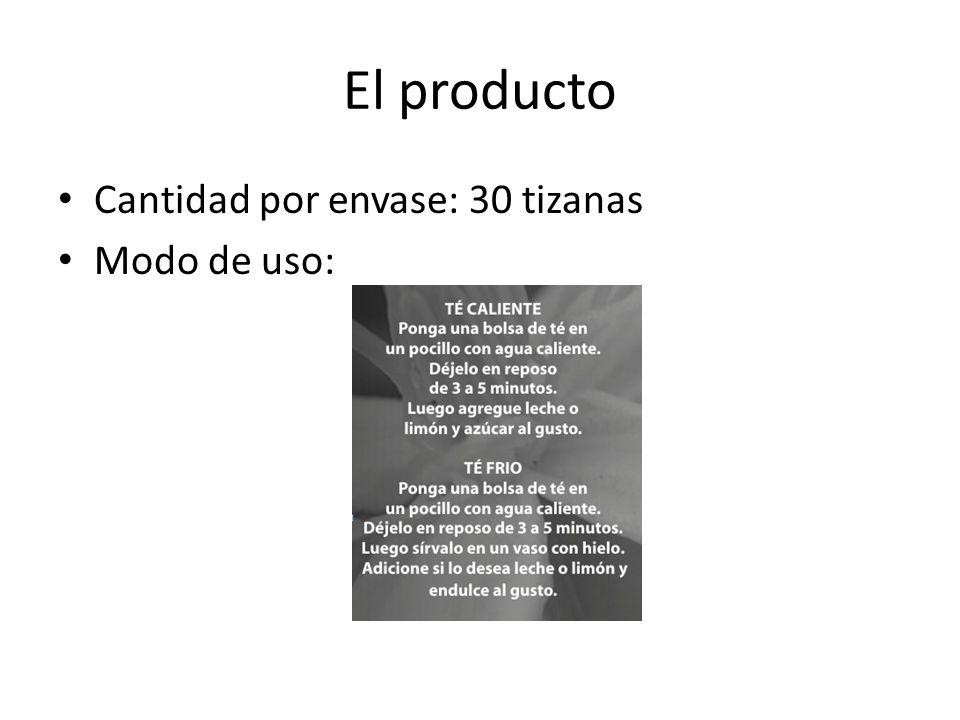 El producto Cantidad por envase: 30 tizanas Modo de uso: